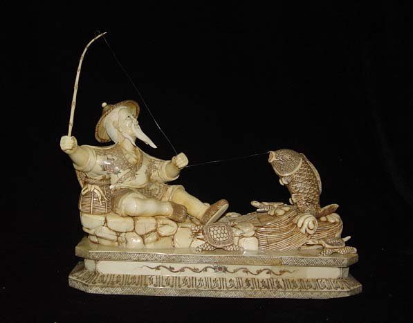 Exquisite Bone Art Handicraft Lucky God angle Fish Figure