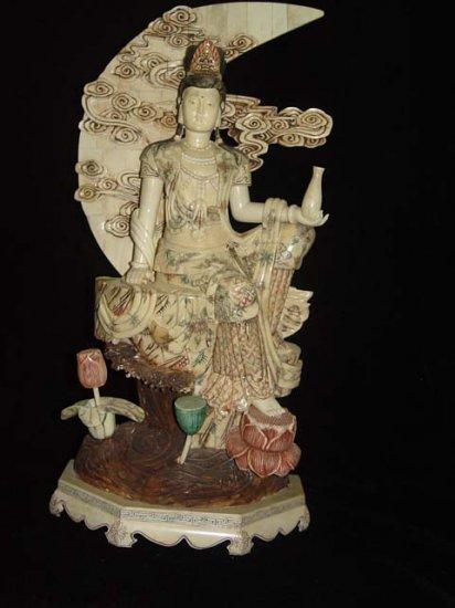 Exquisite Bone Art Handicraft Water Lily Kwan-yin Figure