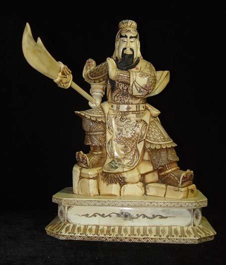 Exquisite Bone Art Handicraft Nice Guangong God Figure