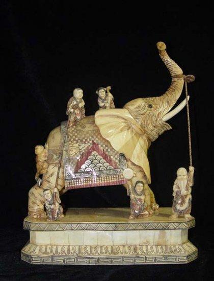 Exquisite Bone Art Handicraft Lucky Child Play Elephant Figure