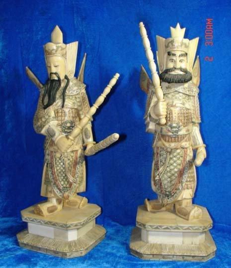 Exquisite Bone Art Handicraft Chinese Two Door God Figure