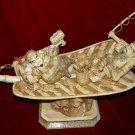 Exquisite Bone Art Handicraft Two Wealth God Sit Fan Ship Figure