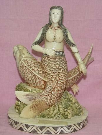 Exquisite Bone Art Handicraft sea-maiden Ride Fish  Figure