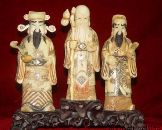 Exquisite Bone Art Handicraft Lucky Fu Lu Shou God Figure