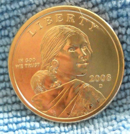 "2008-D Sacagawea Dollar. ""Choice BU"""