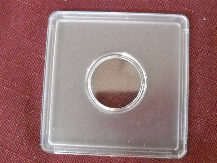 2x2, Clear Plastic, snap together coin holder.