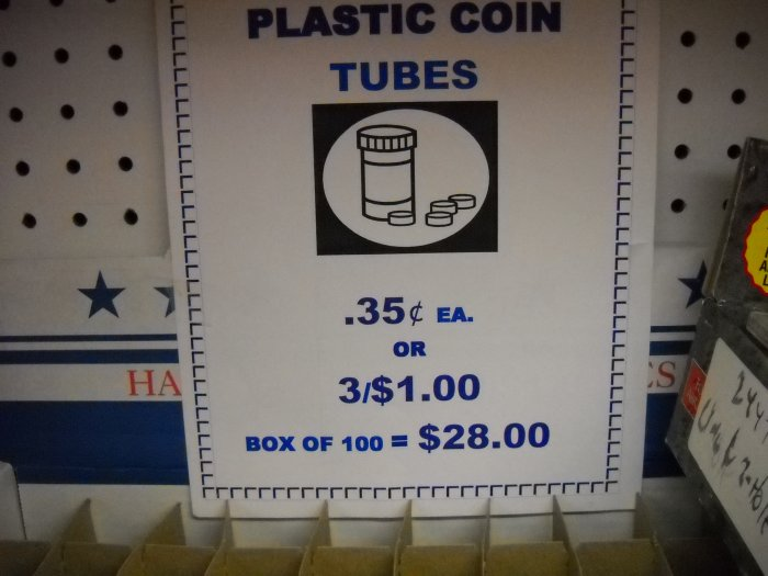 Plastic Coin Tubes.  All Sizes in stock