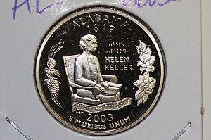 2003 Washington State Quarter, 3 Coin Set, P/D/S. Alabama.,  B.U./Proof.