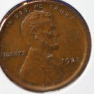 1921 Lincoln Wheat Penny. Fine Circulated Coin.  #4893