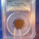 1873 Indian Head Cent.  Open 3. Repunched Date.