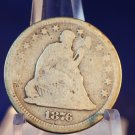 1876 25C Seated Liberty Quarter.  Good Circualted Coin.  BX-5282