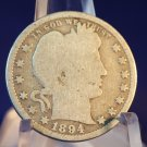 1894 25C Seated Liberty Quarter. Average Circulated Coin.  BX-5292