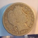 1901 25C Barber Quarter. Well Circulated Coin.  BX-5412