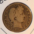 1901 Barber Quarter. Good Circulated Coin.  BX-5416