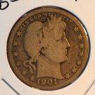 1901 Barber Quarter. Good Circulated Coin.  BX-5416