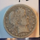 1902 Barber Quarter Very Good Circulated Coin.  Bx-5420