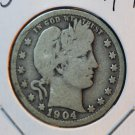 1904 Barber Quarter.  Good Circulated Coin.  BX-5444