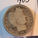 1905 Barber Quarter.  Well Circualted Coin.  BX-5450