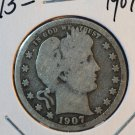 1907 Barber Silver Quarter.  Good Circulated Coin.  BX-5454