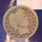 "1907-O Barber Quarter.  ""New Orleans Mint"".  Good Circulated Coin.  BX-5470"