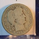 1907-O Barber Quarter.  About Good Circulated Coin.  BX-5472