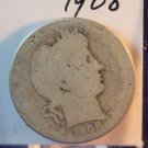 1908 Barber Quarter. Fair-2 Circualted Coin.  Silver.  BX-5474