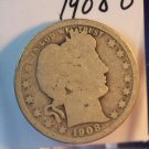 1908-O Barber Quarter.  Fair Circulated Coin.  BX-5478