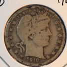 1910 Barber Silver Quarter.  Good Circulated Coin.  BX-5546