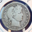1912 Barber Silver Quarter.  Good Circualted Coin.  BX-5564