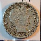 1914 Barber Quarter.  Extra Fine Plus Circulated Coin.  Box#5576