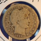 1914 Barber Quarter.  About Good Circulated Coins.  Box#5572