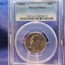 1953 Washington Silver Quarter. PCGS PF-64.  Gem Brilliant Proof Coin.