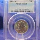 1947-S Washington Silver Quarter. Gem Brilliant Mint Luster.  Top Grader PCGS MS-65