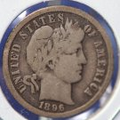 1896-O Barber Dime. 'Partial Liberty', Nice Problem Free Circulated Coin. Full Rims. CS#8424