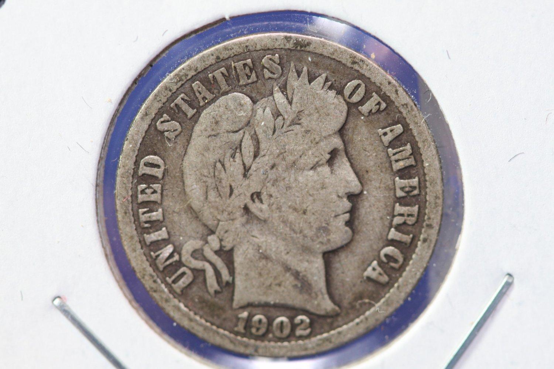 1902-O Barber Silver Dime. Very Good Circulated Coin. CS#8474