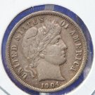 1904 Barber Dime. Nice Extra Fine Condition. Light Marks on Cheek. CS#8488