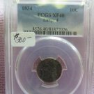 1834 10C Capped Bust Dime * Large 4 Variety * PCGS XF40 * Nice Coin *