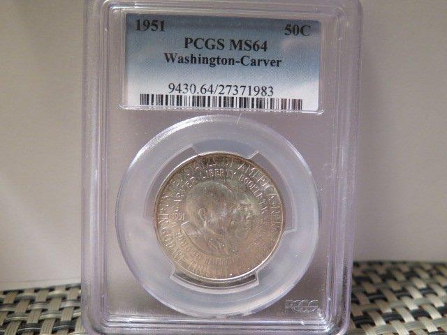 "1951 50C Washington-Carver Commemorative, 3 Coin Set. ""P"", ""D"" and ""S""."