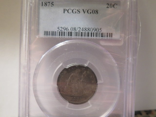 1875 20C Twenty Cent Piece.  RARE Coin. Low Mintage. PCGS Graded VG08