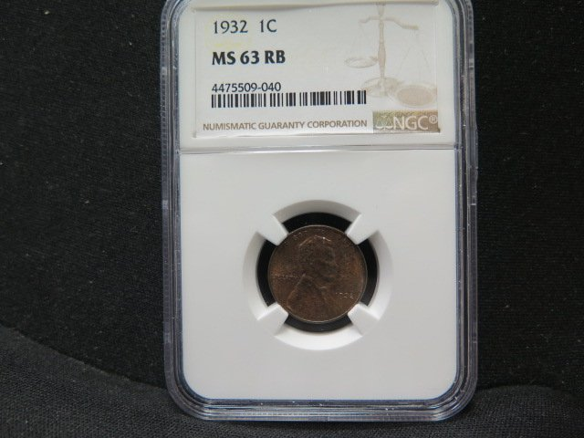 1932 1C Lincoln Wheat Penny. Choice Red/Brown UN-Circulated Cents. NGC MS63