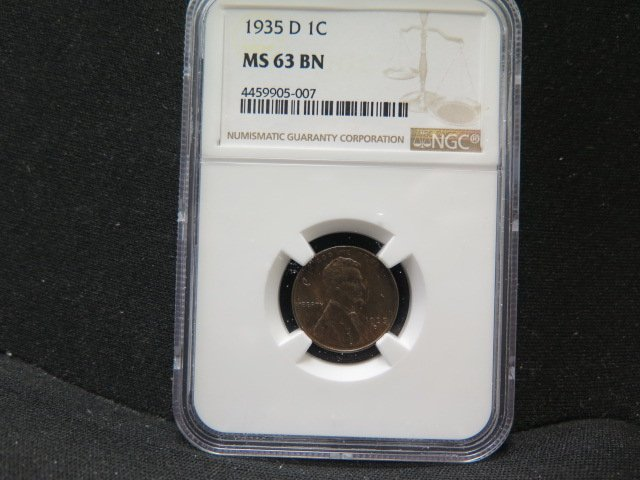1935-D 1C Lincoln Wheat Penny. Choice Bold Strike.  Nice eye appeal. NGC MS63.