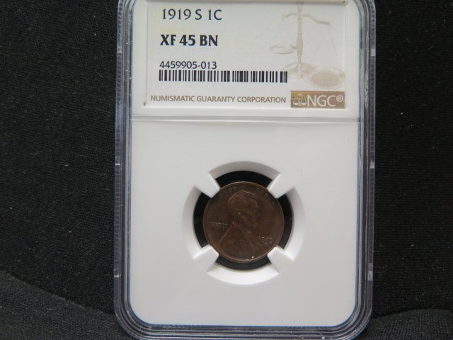 1919-S 1C Lincoln Wheat Penny.  Nice Eye Appeal. NGC Certified XF45.