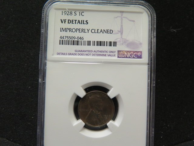 1928-S Lincoln Penny.  NGC Graded and Verified. VF Details, Cleaned.
