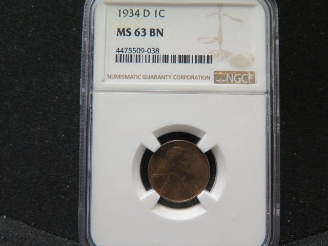 1934-D 1C Lincoln Wheat Penny.  Very Choice Mint State. NGC MS63