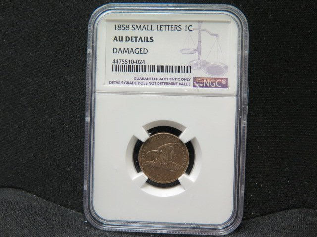 1858 1C Flying Eagle Penny. Small Letters. (MOTTO).  NGC AU55 Details.