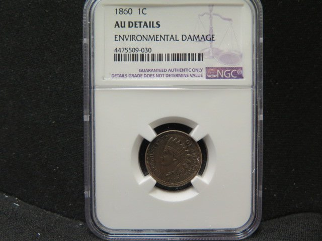 1860 1C Indian Penny. Nice Looking Coin. NGC AU Details.