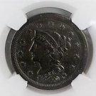 1849 Braided Hair Large Cent. NGC Certified. VF Details. Improperly Cleaned.