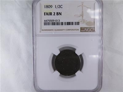 1809 Halve Cent. Early Date Collectible Coin. Certified For Customer Assurance.