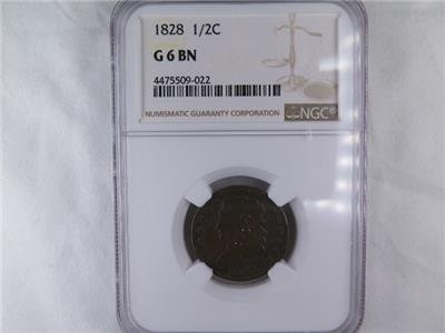 1828 Halve Cent. NGC Certified G6. Affordable Early Date Type Collectible Coin.