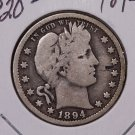 1894 25C Barber Silver Quarter.  Very Good Circulated Coin. Sale #1770